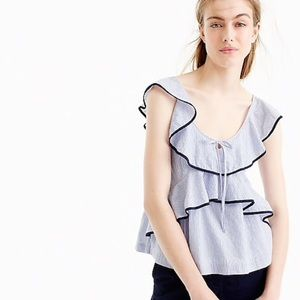 Tipped ruffle top in stripe 2